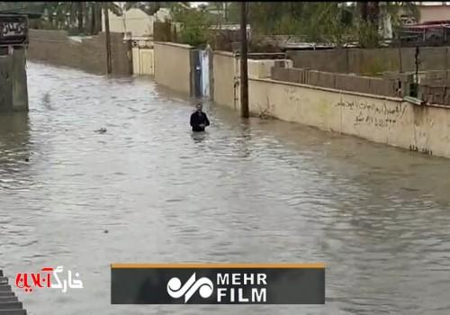 تبدیل کوچه به نهر آب در استان بوشهر